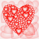 Romantic composition of the hearts. Vector illustration Royalty Free Stock Photography