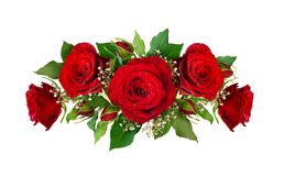 Romantic composition with red roses and gypsophila flowers and b
