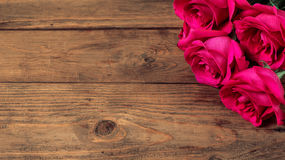 Romantic composition with rose flowers St. Valentines Day background. Copy space.  Stock Photography