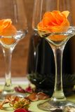 Romantic Composition With Wine Glass, Roses And Bottle Of Wine Stock Photo