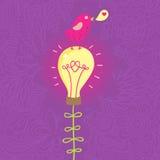 Romantic concept. Cute small bird on lightbulb - romantic concept Stock Image