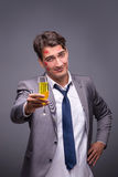 The romantic concept with man and champagne Royalty Free Stock Photography