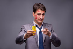 The romantic concept with man and champagne Stock Photography