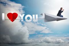 The romantic concept with man on paper plane i love you Stock Photo
