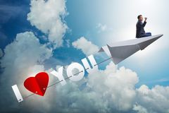 The romantic concept with man on paper plane i love you Royalty Free Stock Image