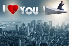 The romantic concept with man on paper plane i love you Stock Photography