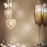 Romantic congratulatory background with two Royalty Free Stock Photo