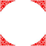 Romantic corner border on white background. Decorative frame with small red hearts. Royalty Free Stock Photography