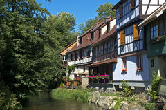 Romantic corner, Kaysersberg, Alsace, France Stock Photo