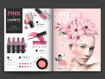 Romantic Cosmetic Magazine Template Royalty Free Stock Images