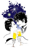 Romantic Couple. Couple celebrating and champagne toasting Royalty Free Stock Photography