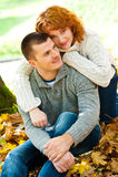 Romantic couple. Romentic couple in autumn park stock photo