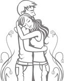 Romantic couple. Couple of teenagers are hugging each other, vector illustration. Layers are managed and arranged for easy editing Stock Image