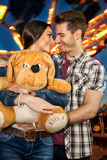 Romantic couple at amusement park Stock Photography