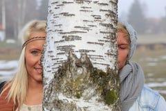 Romantic couple autumn Stock Image