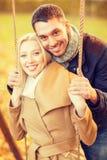 Romantic couple in the autumn park Royalty Free Stock Photos