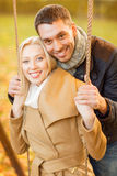 Romantic couple in the autumn park Stock Photo