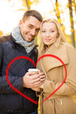 Romantic couple in the autumn park Royalty Free Stock Images