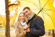 Romantic couple in the autumn park Stock Image