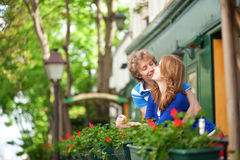 Romantic couple on the balcony. Of their house or hotel Stock Photography