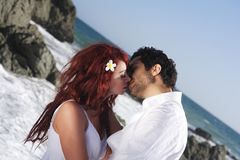 Romantic Couple at the beach Stock Images