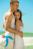 Romantic couple on a beach Royalty Free Stock Photo