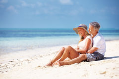 Romantic couple on beach Stock Image