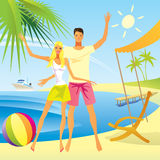 Romantic couple on the beach Stock Images