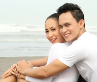 Romantic couple at the beach Royalty Free Stock Image