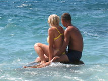 Romantic couple on a beach Royalty Free Stock Image