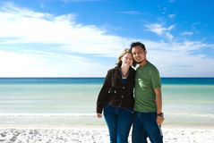 Romantic couple on the beach. Picture of a romantic couple on the beach Royalty Free Stock Photo