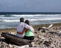 Romantic couple on beach Royalty Free Stock Image