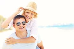 Romantic couple at the beach Stock Photo