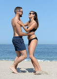 Romantic couple on a beach Royalty Free Stock Photo