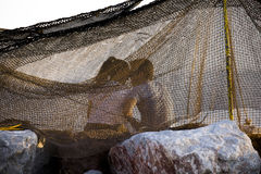 Romantic couple behind the fishnet. Royalty Free Stock Images