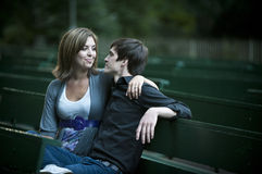 Romantic couple on bench Royalty Free Stock Photography
