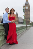 Romantic Couple by Big Ben, London, England. Romantic man and woman couple on Westminster Bridge with Big Ben in the background, London, England, Great Britain Stock Photography