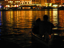 Romantic couple on boat Royalty Free Stock Photography
