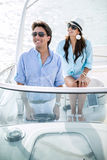 Romantic couple on a boat Royalty Free Stock Image