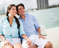 Romantic couple in a boat Stock Photography