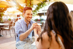 Romantic couple bonding in restaurant. Outdoors Stock Photography