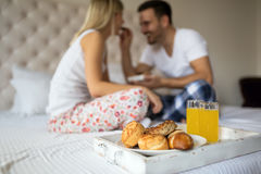 Romantic couple breakfast in bed Royalty Free Stock Photos