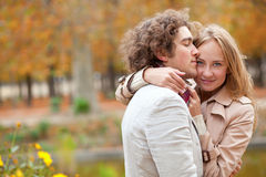 Romantic couple at bright autumn day Royalty Free Stock Images