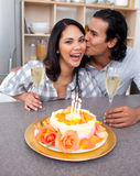 Romantic couple celebrating Royalty Free Stock Photos