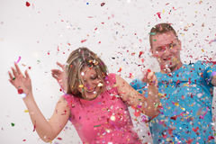 Romantic couple celebrating Stock Photos