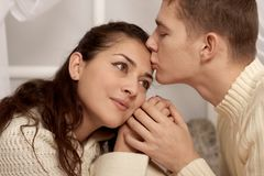 Romantic couple closeup portrait, love concept stock photos