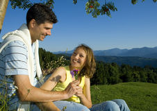 Romantic couple in countryside Stock Photo