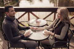 Romantic couple at countryside. Royalty Free Stock Images