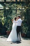 romantic couple dancing in botanic garden Royalty Free Stock Photography