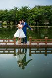 Romantic couple dancing by the lake stock photos